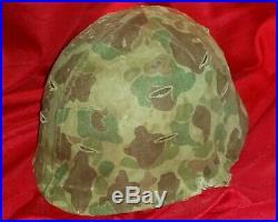 Original Wwii Korean War Usmc Front Seam Helmet, Liner And Camo Cover No Ega