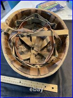 Original usmc marine camouflage helmet cover RARE and fix bail Korean War