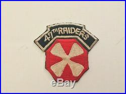 Pk212 Original Korean War Era US Army 47th Raiders Over 8th Army SSI Patch WA10
