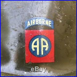 Post WWII US Army M1C Paratrooper Helmet 82nd Airborne Decals 1950s Korean War