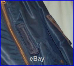 RARE! 50's Korean War USAF Air Force Blue B-15C Flight Jacket with Woven Collar