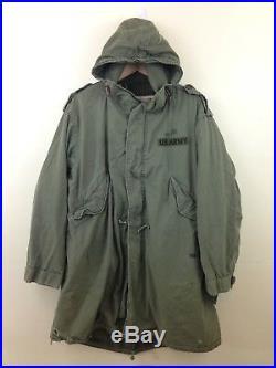 RARE Korean War Vintage US Army M-51 Parka Fishtail Military Uniform Sz L