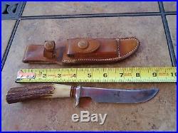 Randall Knife 50's Korean War One Pin Stag H. H. Heiser Sheath BB Norton Stone