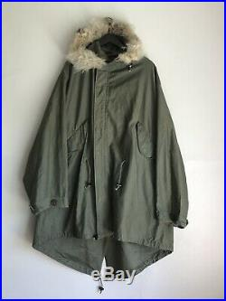 Rare 1948 Korean War Us Army M-48 Fishtail Parka Shell With Wolf Trim Hood Large