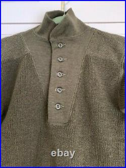 Rare Excellent Condition-1950 Korean War US Army High Neck Wool Military Sweater