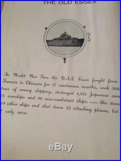 Rare Japan made Korean War 1950-51 USS Essex CV-9 cruise book USN US Navy