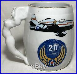 Rare Korean War 20th Air Force 25th Fighter Bomber Squadron Mug Pinup Girl