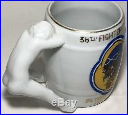 Rare Korean War 8th Air Force 36th Fighter Squadron Flying Findes Mug Pinup Girl