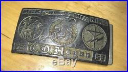 Rare! Korean War Era Military Belt Buckle Navy Usn Seabees Cb's Mcb-nine 1952-53