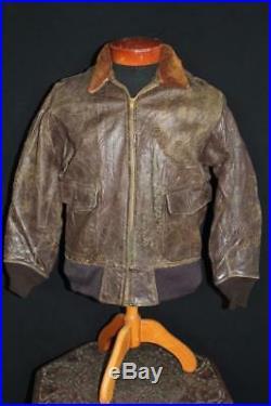 Rare Vintage 1950's Korean War Era G-1 Goatskin Leather Flight Jacket Size 42