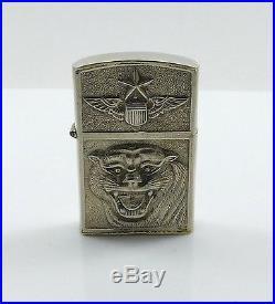 Rare Vintage Korean War Air Force Pilots Sterling Silver Lighters White Tigers