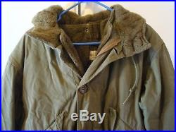 Rare Vintage Us Army M47 M-1947 Parka Overcoat With Liner Ww2 Korean War Medium