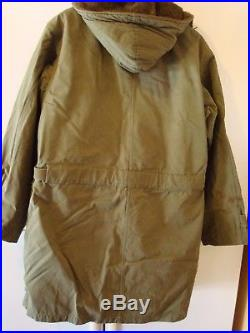 Rare Vintage Us Army M47 M-1947 Parka Overcoat With Liner Ww2 Korean War Small