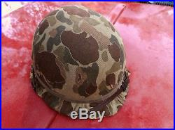 Real Korean War / Early Nam M-1C Jump Helmet With Rare Frog skin Cover Complete