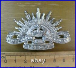 Scarce Australian Post Ww2 White Metal Rising Sun Cap Badge Light Horse Armoured