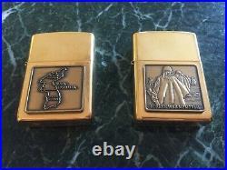 Set of 2 zippo solid brass lighters. Korean war memorial. Mint with box. 1996