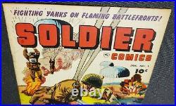 Soldier Comics # 1 Fawcett 1952 Fighting Yanks Flaming Battlefront/Parachute Cvr