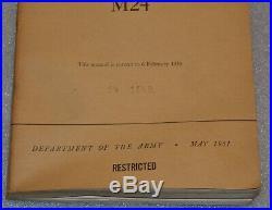 TM 9-729 M 24 US War Dept Light Tank M 24 Technical Manual May 1951 KOREAN WAR