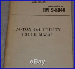 TM 9-804A Utility Truck M38A1 May 1952 Korean War