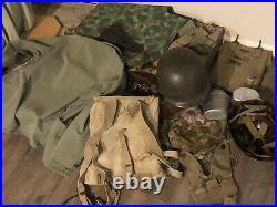U. S Marine Corp. WW11-Korean War Uniform & Helmet Pacific Theater Tropical Gear