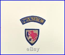 US Army 2nd Chemical Mortar Battalion Bullion Patch and Tab Korean War 1951 RARE