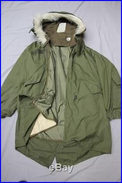 US Army Korean War 1950 Military Green Fishtail Shell Hooded Parka Coat Jacket M