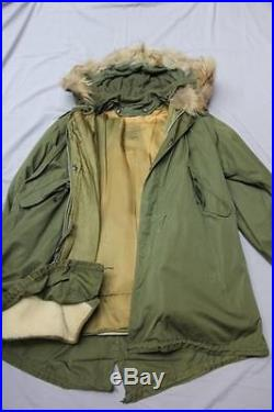 US Army Korean War Military M 1951 Fishtail Parka Shell Hooded Coat Jacket L GUC