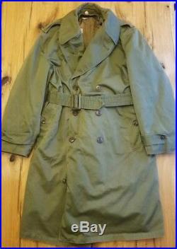 US Army Korean War OG 107 Overcoat with Liner Trench coat Medium Vtg Military