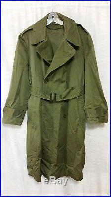 US Army Korean War Vintage OG-107 Overcoat Trench Coat Jacket Unissued Medium