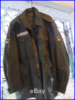 US Army M-1951 Korean War Era Long Large Field Jacket Excellent with Name & Rank