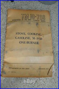 US Army Officer's Camp Stove M-1950 Korean War Era 1951 with Book and Container