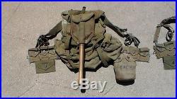 US Army WW2 & Korean War M-1945 Fieldpack Backpacks & Belts, Canteens, Shovels