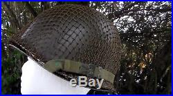 US Army WW2 to Korean War era M-1 Helmet & Netting Hotrod Rat Fink Logo Used