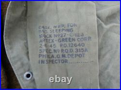 US Army WWII/Korean War Era Mummy Sleeping Bag with Cover and Wool Liner