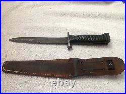 US Korean War M1 Garand M5A1 Bayonet With RARE M-5 Leather Fighting Knife Scabbard