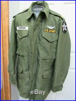 US M1951 Field Jacket Coat Medium Major 2nd Inf Div Senior Pilot Wing Korean War