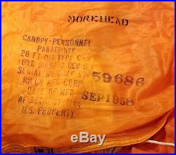 US Military 28 FT C-9 Parachute Dated 1958 Mills MFG CORP Morehead Korean War
