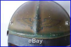 US Navy Pilot helmet with earphones and jack Korean war era