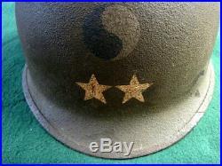 US WWII Korean War MAJOR GENERAL M-1 Helmet with Firestone Liner 29th Infantry