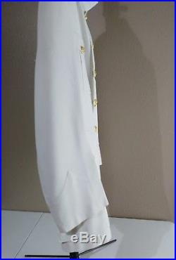 USMC Dress White Uniform Mens Officer Choker Collar Korean War Era Vintage