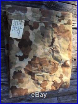 USMC Korean War CAMOUFLAGE SHELTER HALF TENT w PINS POLES, DATED 1953 CAMO