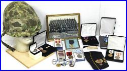 USMC Korean War Veteran Robert E Riddle Helmet, Photos & Medals LOOK! (RCR)