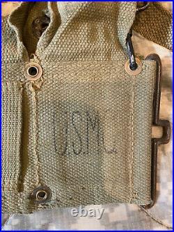 USMC M1923 M1 Garand Cartridge Belt w M1945 Suspenders & Canteen Korean War