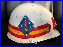 USMC MP helmet liner 1st Marines Division Marine Guadacanal WWII Korean War era