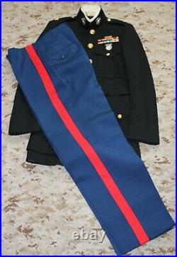USMC Marine Corps Officer Dress Blue Uniform Named Korean War EGAs & Medallion