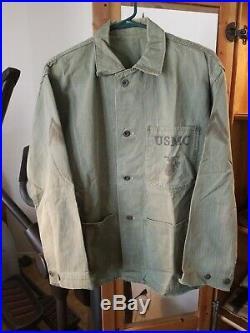 USMC P47 Korean War Green HBT Utility Shirt Medium 38/40 Very Good Condition