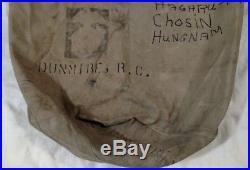 USMC PEARL HARBOR Korean War Chosin WWII Military Duffle Bag IDd Roy C Dunmire