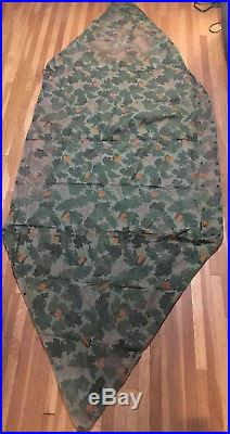 USMC Shelter Half Vine Leaf Mitchell Camouflage Korean War 3 Tent Poles 3 Stakes