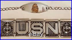 USN Navy Sweetheart Bracelet Sterling Silver His & Hers WWII Korean War 2 Pieces