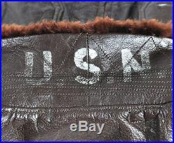 USN US Navy Leather Flight Jacket G-1 Buaer Size 38 Korean War 1950 55J14 AER
